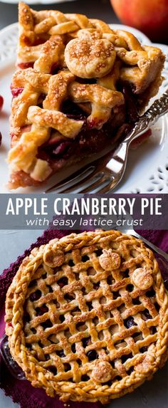 Sweet cinnamon apples and tart cranberries come together in this incredible Than., cinnamon apples and tart cranberries come together in this incredible Thanksgiving pie! Recipe on sallysbakingaddic. Tart Recipes, Apple Recipes, Baking Recipes, Dessert Recipes, Baking Pies, Baking Desserts, Bread Baking, Cookie Recipes, Thanksgiving Desserts Easy