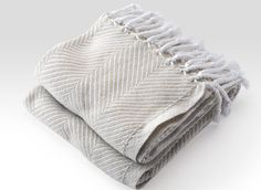 Cotton Herringbone Throw in White/Oyster