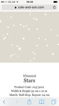 Star wallpaper from cole and son as seen in Made in Chelsea - Binky's nursery. Wallpaper Designs, Designer Wallpaper, Made In Chelsea Binky, Star Wallpaper, Cole And Son, New Room, Backdrops, Whimsical, New Homes