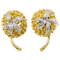 1stdibs.com   TIFFANY & CO. SCHLUMBERGER Diamond and Gold Chestnut Earrings