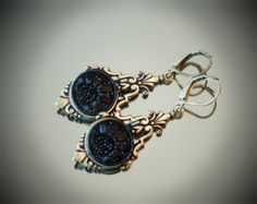 Antique Victorian Lacy Black Glass Button Earrings, Oxidized Brass Tone