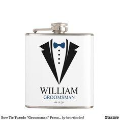 """Bow Tie Tuxedo """"Groomsman"""" Personalized Flask Unique Gifts, Great Gifts, Father Of The Bride, Tuxedo, Groomsmen, Flask, Bows, Things To Sell, Arches"""