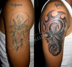 Red And Grey Color Ink Biomechanical Tattoo Design For Biceps For Boys