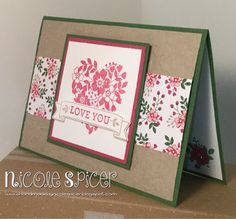 #GDP017 Global Design Project Stampin' Up!, Love Blossoms, Blooming Heart, Crumb Cake, Rose Red, Garden Green, Handmade by Nicole Spicer