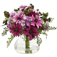 This simple glass vase holds a beautiful bouquet of bright, faux flowers that will not wilt or fade. This decorative arrangement is a constant reminder of the beauty in your life, without the hassle o