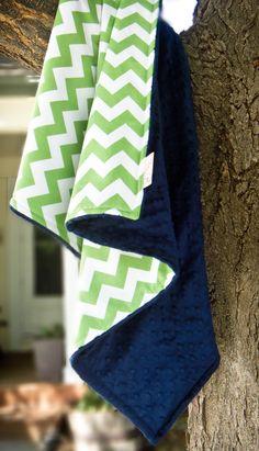 Green & Navy Chevron Stroller Blanket, Chevron and Minky, Toddler Baby Blanket in Designer Riley Blake Fabric- Made to Order on Etsy, $36.00