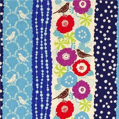 echino canvas fabric birds stripes blue from Japan