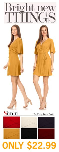 24739a5ebca Womens Casual V Neck Wrap Dress T Shirt Flared Sleeve reg and Plus Size  Dress With Tie Belt - Made In USA