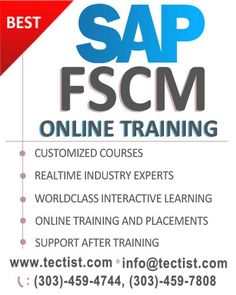 The best trendy course SAP FSCM Online Training by real time experts. http://www.tectist.com/sap-fscm-online-training.html #sapfscm #sapfscreditmanagement #sapfscmonlinetraining