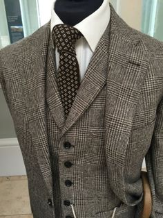 Sloping shoulders are an essential detail to me. A waistcoat with lapels makes the whole suit different