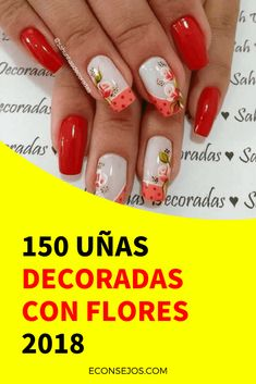 Uñas decoradas con flores 2018
