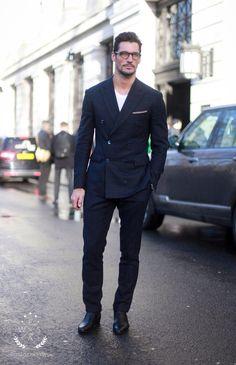 Tops [Outerwear] (blazer, dark blue) Tops [Shirts] (white, tshirt) Pants (trousers, navy blue, slim cut) Slip ons (black, leather) Accessories [Eyewear] (black)