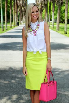 Strawberry Limeade - Bows & Depos - bright yellow pencil skirt, white sleeveless blouse, coordinating necklace and bag