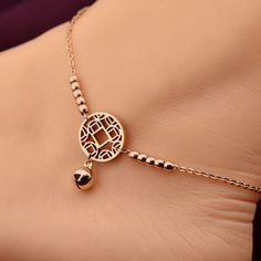 Anklets Little Bell Bracelet Rose Gold Titaium Steel Girl Lover efoot Foot