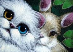 Easter Bunny Cat | Art: WHITE PERSIAN CAT ODD EYE & EASTER BUNNY RABBIT by Artist Cyra R ...