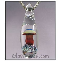 SALE Red Mushroom Pendant - Hand Blown Glass Jewelry by Glass Peace $11.95