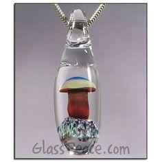SALE Mushroom Pendant glass focal lampwork bead by Glass Peace $8.86