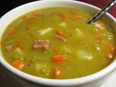 Split Pea and Ham Soup. Split pea and ham soup is comforting healthy and delicious! Easy Split Pea Soup, Green Split Pea Soup, Ham Bone Soup, Soup Recipes, Cooking Recipes, Crockpot Recipes, Recipes With Ham Broth, Recipies, Dutch Recipes