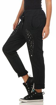 f406188201 241 Damen Hose Freizeit Stoffhose elegante Boyfriendhose Baumwollhose mit  Pailletten S M L Blau: - Jogginghose Style