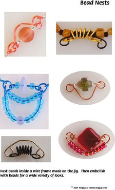 Bead Nests Wire Links made with WigJig jewelry making tools, beads and jewelry supplies.