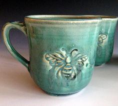 READY TO SHIP Bee mug, stoneware mugs, handmade mugs by Leslie Freeman by Lesliefreemandesigns on Etsy https://www.etsy.com/listing/197570645/ready-to-ship-bee-mug-stoneware-mugs
