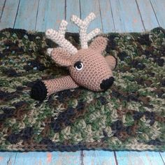 Deer Security Blanket Crochet Lovey Baby by SassyAddictionsShop
