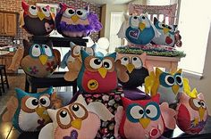 Felt owls, basic shapes, could easily duplicate this idea at home.