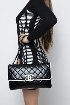 Chanel Black & White Two Tone Maxi Flap Bag