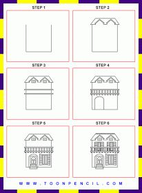 how to draw a cottage step by step