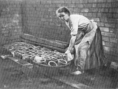 A woman building a white lead 'Stack' in the early 20th century. Read about the process - http://patrickbaty.co.uk/2012/08/01/white-lead/