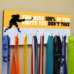 Hockey Multi-Hook Medal/Hat Display | ChalkTalkSPORTS.com