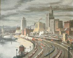 """Railroad Yards at St. Paul,"" Arnold Ness Klagstad, oil on canvas, 27 1/4 x 33 1/4"", Krannert Art Museum."