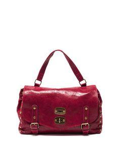 Red leather vintage style satchel Sale - Carla Ferreri Sale