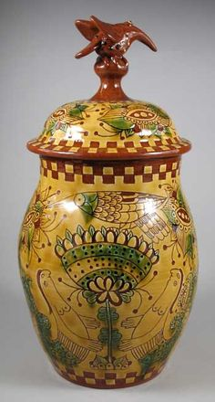 back of redware storage jar