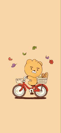 Friends Wallpaper, Bear Wallpaper, Wallpaper Iphone Cute, Cute Wallpapers, Kakao Ryan, Aesthetic Lockscreens, Kakao Friends, Korean Aesthetic, Little Twin Stars