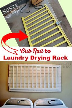 How to Turn a Crib Rail into Laundry Drying Rack DIY Crib rail to DIY laundry drying rack ~ this is Drying Rack Laundry, Clothes Drying Racks, Laundry Room Storage, Laundry Rooms, Diy Storage, Repurposed Furniture, Diy Furniture, Vintage Furniture, Rustic Furniture