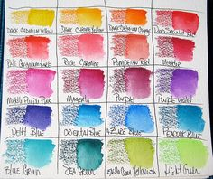The color chart is important because the dry pencil marks look very different once you add water. They go down very dark, get super vibrant when wet, and dry lighter than you might expect. I understand this is typical of watercolor pencils. Watercolor Pencils Techniques, Colored Pencil Techniques, Watercolour Tutorials, Albrecht Dürer, Vincent Van Gogh, Polychromos, Coloured Pencils, Copics, Teaching Art