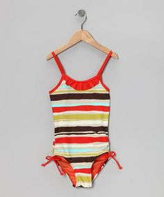 Take a look at this Brown & Orange Stripe One-Piece - Toddler & Girls by Marina West on #zulily today!