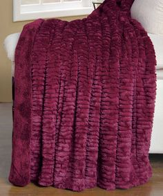 Love this Burgundy Air Brush Faux Fur Throw Blanket by BNF Home Inc. on #zulily! #zulilyfinds