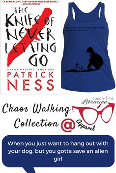 Todd is on his way to being a man. And he's got a fantastic canine friend to go along with it. Sure there's that world orphan bit, but he's got an alright life. Except now he's got to go out of his way to help this alien girl. Them's the breaks Todd. Share his sadness with this Chaos Walking women's tank top.