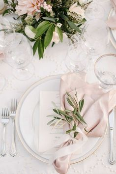 pink and green elegant wedding table settings