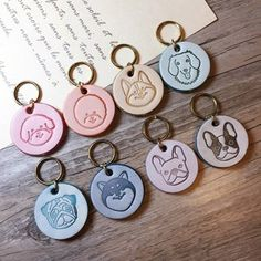 I sneaked out again to play If you think I am looking for my father or mother Please call me home Wooden Keychain, Leather Keychain, Dog Collar Tags, Collar And Leash, Custom Pet Tags, Chimichanga, Leather Stamps, Dog Items, Animal Projects