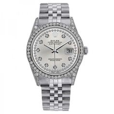 Pre-owned Rolex DateJust 16234 36mm Silver Dial Diamond Bezel & Lugs... ($5,999) ❤ liked on Polyvore featuring jewelry, watches, rolex watches, unisex watches, pre owned jewelry, pre owned watches and preowned watches
