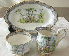 Royal Albert Silver Birch 3 pc Creamer  Sugar Bowl with Underliner Tray Vintage