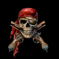 Pirate Skull with Guns by David Penfound