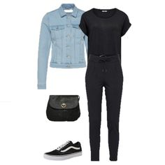 Black t-shirt+black joggers+black sneakers+denim jacket+black crossbody bag. Spring Casual Outfit 2018