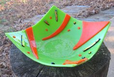 Neon Citrus Lime Green Orange FUSED GLASS Square BOWL Dish Art from Dawn of Creation