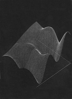 Plotter Drawing for Numeric Milling: Ridges Over Time (1968) by Charles Csuri