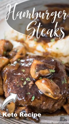 Hamburger Steak with brown gravy is a ground beef recipe that is quick and easy to make recipe for dinner the whole family will love. #hamburgersteak #groundbeef #gravy #mushroom #hamburger #GHBrecipes Entree Recipes, Side Dish Recipes, Pork Recipes, Delicious Dinner Recipes, Yummy Recipes, Yummy Food, Savoury Dishes, Food Dishes, Family Recipes