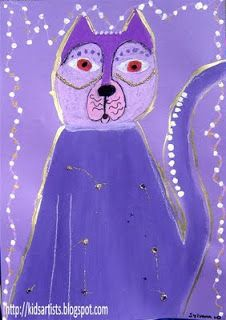 Kids Artists: Fantastic felines in the style of Laurel Burch